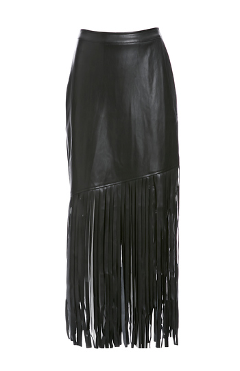 NIGHTWALKER Saloon Vegan Leather Fringe Skirt Slide 1