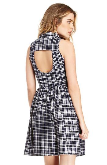 Plaid Button Top Cotton Dress Slide 1
