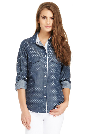 Polka Dot Chambray Shirt Slide 1