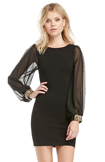 Bejeweled Cuffs Bodycon Dress Slide 1