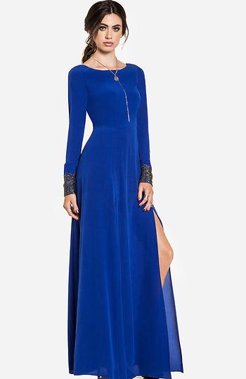 Line & Dot Deep Slit Maxi Dress Slide 1