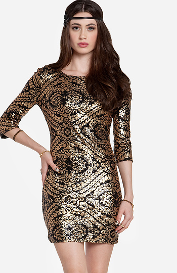 Sequined Baroque Bodycon Dress Slide 1