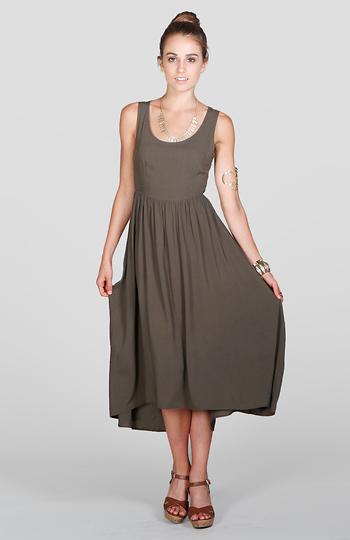 Woven Back Maxi Dress Slide 1