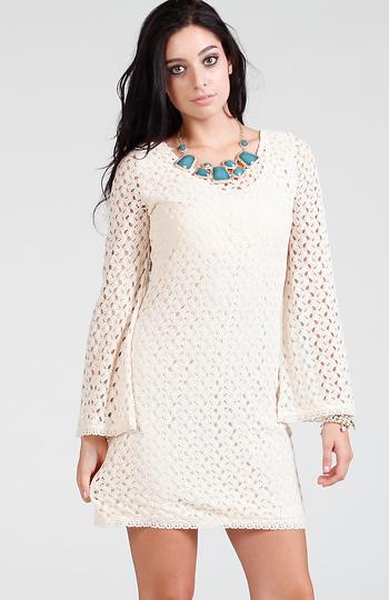 Long Sleeve Crochet Dress In Cream Dailylook