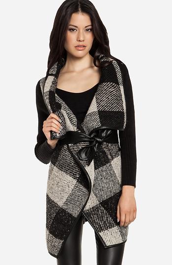 Gingham Wrap Wool Coat Slide 1