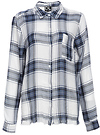Ashley Plaid Fray Hem Blouse