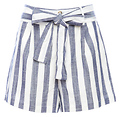 Belted Striped Shorts