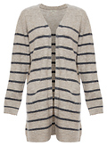 Striped Open Front Two-Pocket Cardigan