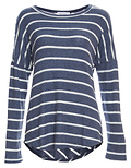 Chris Round Neck Long Sleeve Striped Hi-Low Top