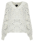 V-Neck Speckled Fuzzy Sweater