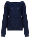 Button Shoulder Boat Neck Sweater