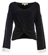 Front Knot Contrast Cuffs Sweater