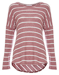 Round Neck Long Sleeve Striped Hi-Low Top