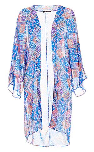 Patchwork Print Kimono Slide 1