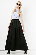 FRNCH Polka Dot Textured Jacquard Maxi Skirt