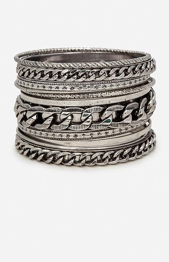 DAILYLOOK Chain Gang Bangle Bracelet Set Slide 1