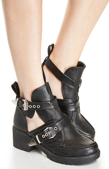 Utility Cutout Buckle Boots Slide 1