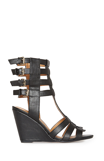 Buckled Gladiator Wedge Sandals Slide 1