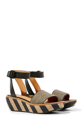 Kelsi Dagger Brooklyn Striped Espadrille Wedges Slide 1