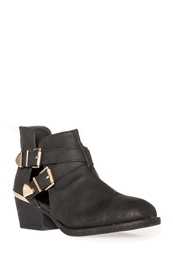 Metallic Cutout Ankle Boots Slide 1