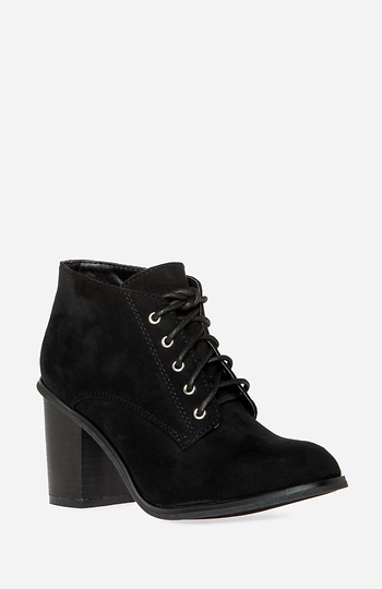 Chunky Heel Lace Up Booties Slide 1