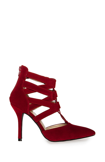 Velvet Lace Up Heels Slide 1