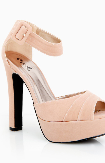 Pleated Open Toe Ankle Strap Platforms Slide 1