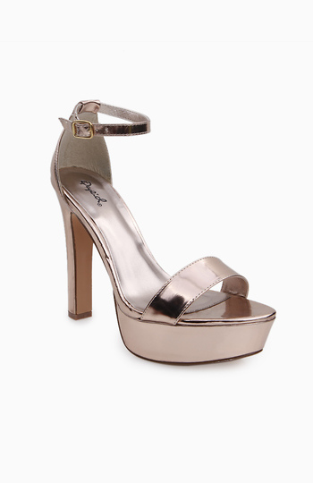 Rose Gold Sandal Heels Slide 1