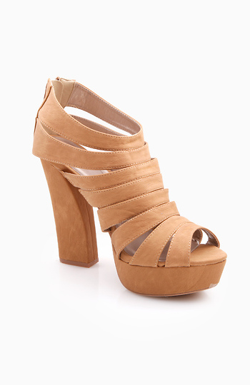 Caged Tan Platforms Slide 1