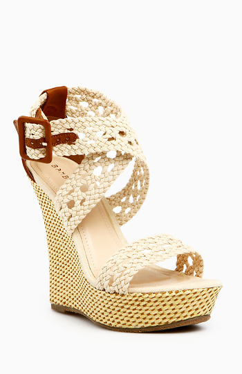 Cross Strap Basket Weave Wedge Slide 1