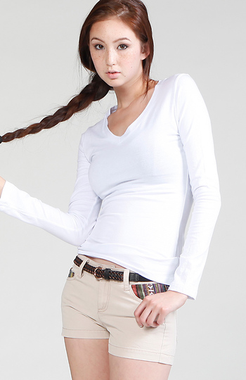 Classic V-neck Long Sleeve Top Slide 1