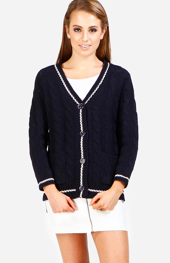 Preppy Trim Cardigan Slide 1