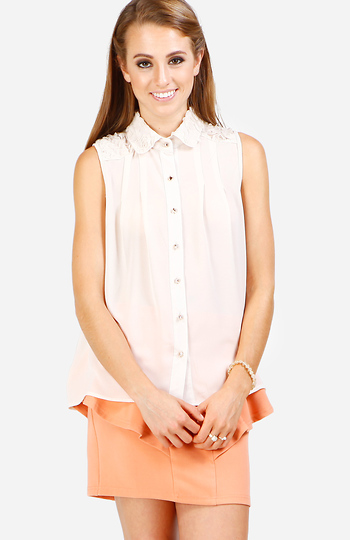 Pleated Floral Collar Top Slide 1
