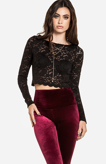 Full Lace Long Sleeve Crop Top Slide 1