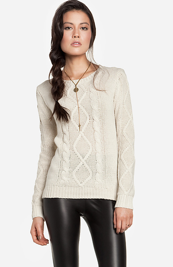 Mixed Cable Knit Sweater Slide 1