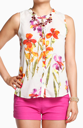 Tropical Punch Floral Blouse Slide 1