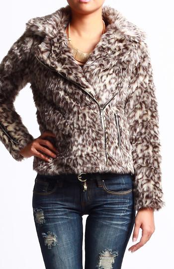 Leopard Faux Fur Coat Slide 1