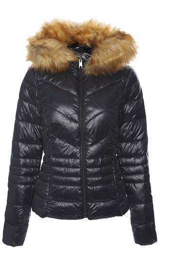 Faux Fur Hooded Jacket Slide 1
