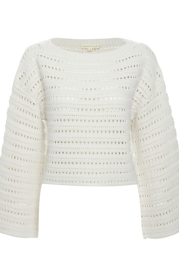 Pointelle Cropped Sweater Slide 1