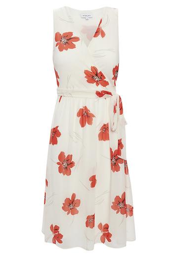 Surplice Floral Print Midi Dress Slide 1