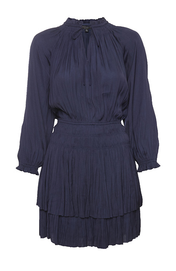Current Air Long Sleeve Pleated Dress Slide 1
