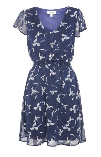 Short Sleeve V-Neck Smocked Waist Mini Dress Slide 1