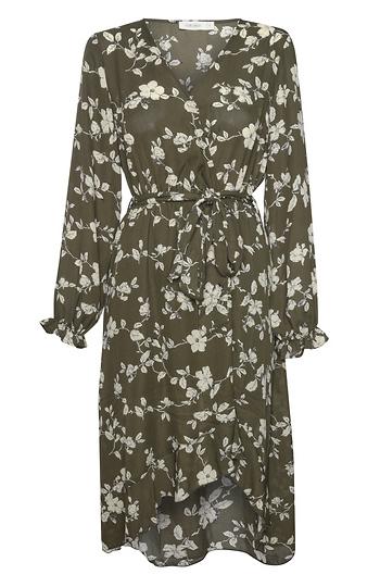 Printed Long Sleeve Midi Dress Slide 1