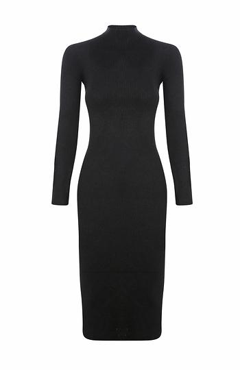 Long Sleeve Turtleneck Midi Dress Slide 1