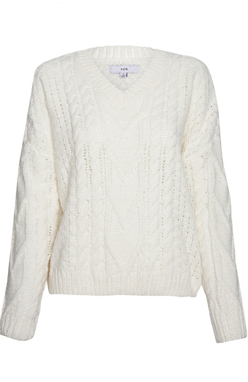 Chenille Cable Knit V-Neck Sweater Slide 1