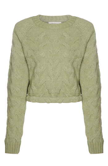 Long Sleeve Cropped Pullover Sweater Slide 1